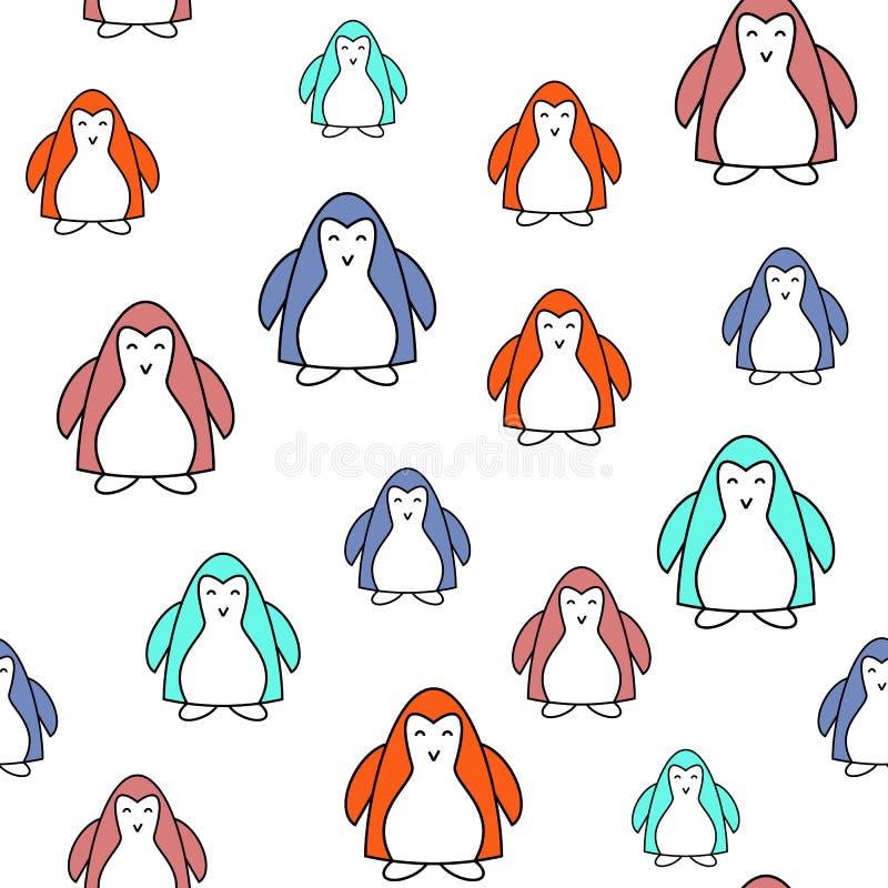 Modelo pintado colorido incons?til de los pinguins de la historieta Fondo para los ni?os Ilustraci?n EPS10 del vector libre illustration