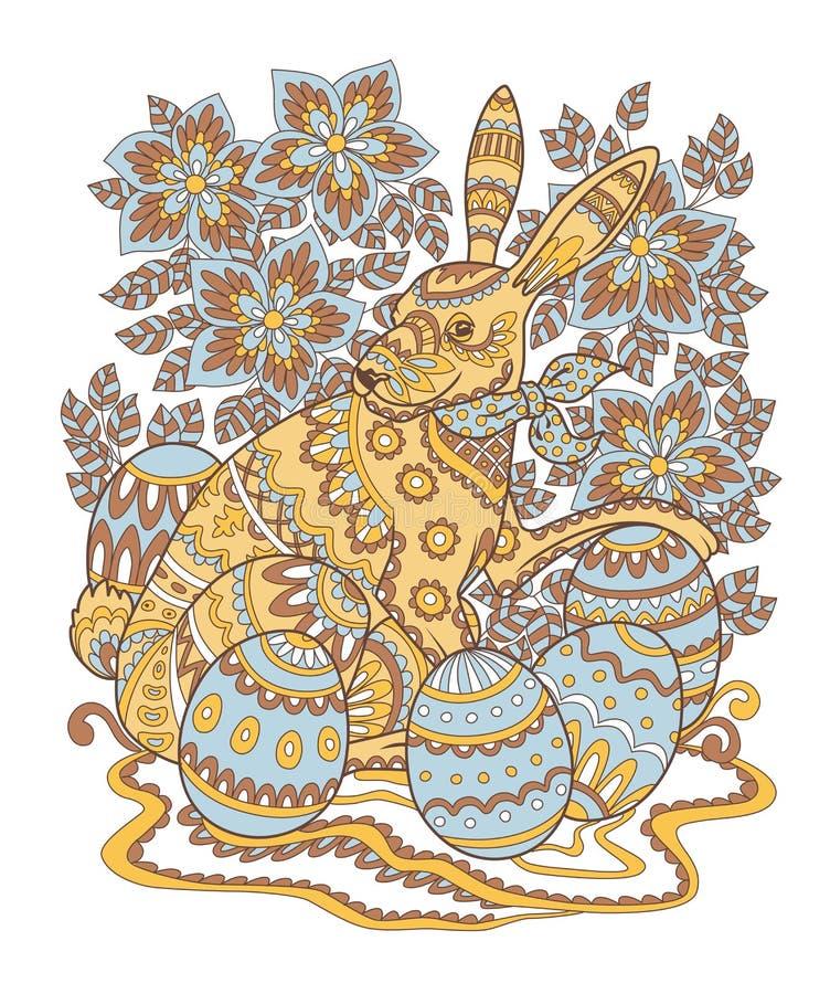 Modelo pintado del contorno del conejito de pascua stock de ilustración