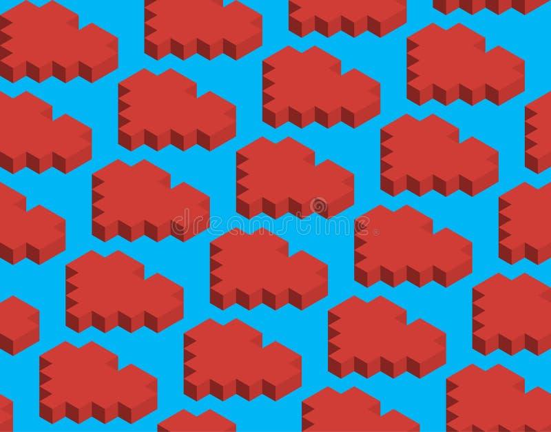 Modelo, pixel, cubos, corazón rojo fotografía de archivo libre de regalías