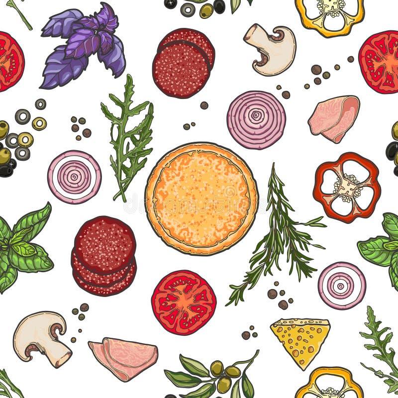 Modelo, pizza e ingredientes en el fondo blanco stock de ilustración