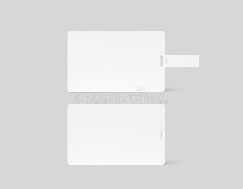 Modelo plástico branco vazio do cartão do usb da bolacha, opinião de verso, ilustração do vetor