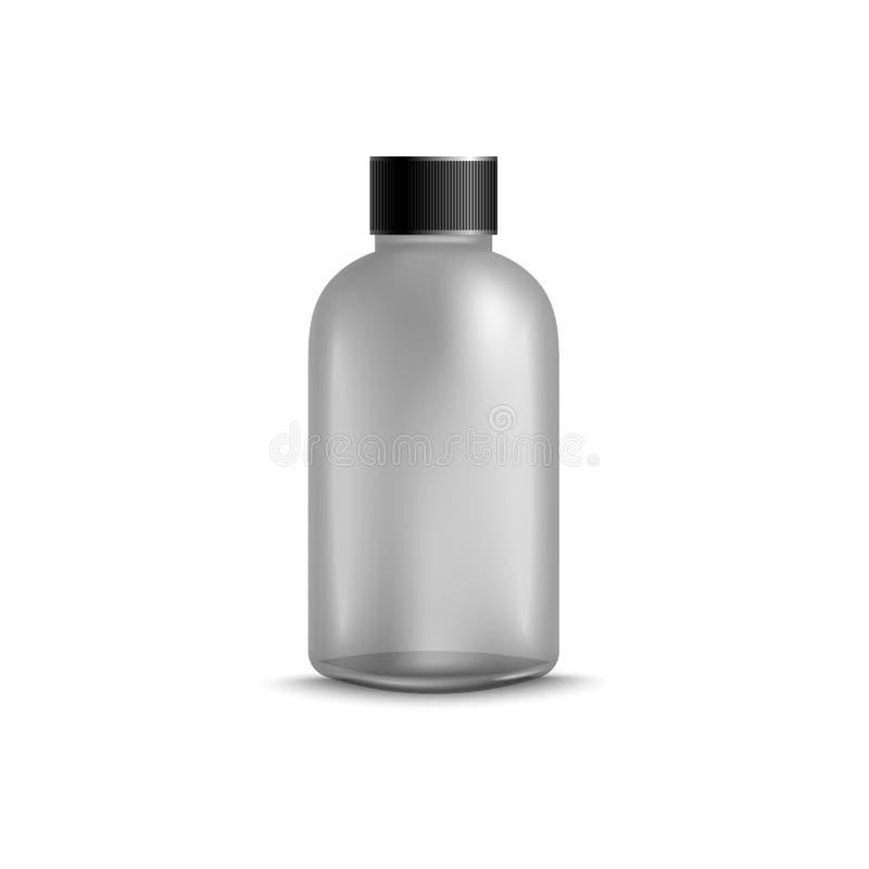 Modelo plástico da garrafa do champô, gel cinzento limpo do chuveiro ou recipiente de produto dos cuidados com a pele com tampão  ilustração stock