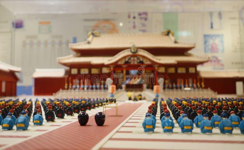 Modelo plástico do castelo de Shuri em Okinawa Prefecture, Japão foto de stock royalty free
