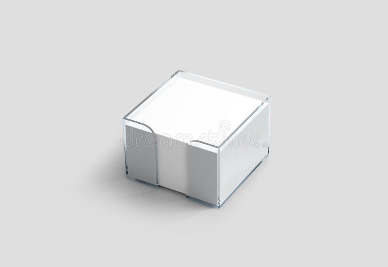 Modelo plástico do suporte do cubo branco vazio do papel de nota ilustração royalty free