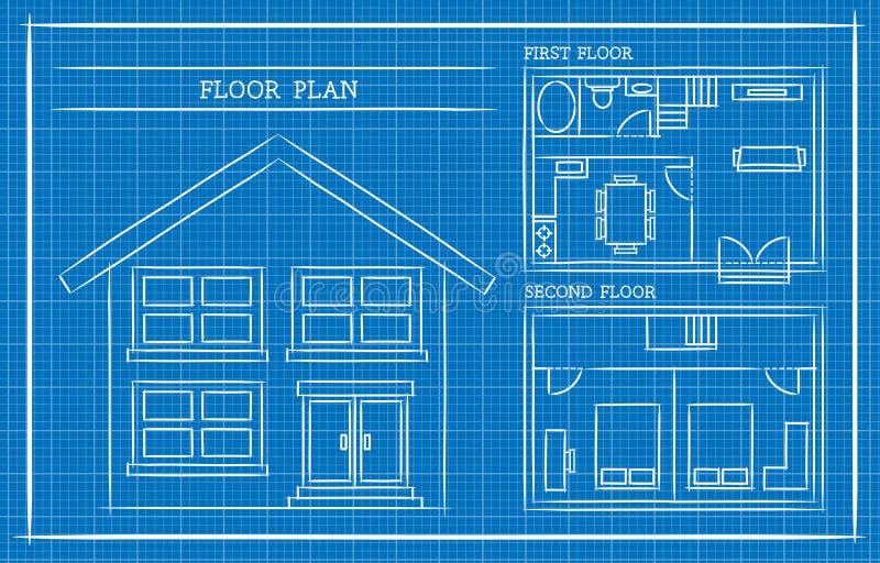 Modelo, plano da casa, arquitetura ilustração stock