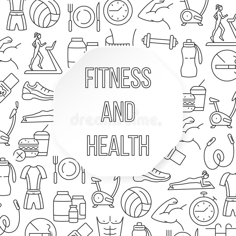 Modelo plano de la aptitud y de la salud ilustración del vector