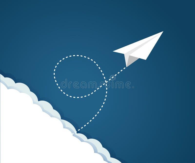 Modelo plano de papel del vuelo sobre un cielo azul y las nubes libre illustration
