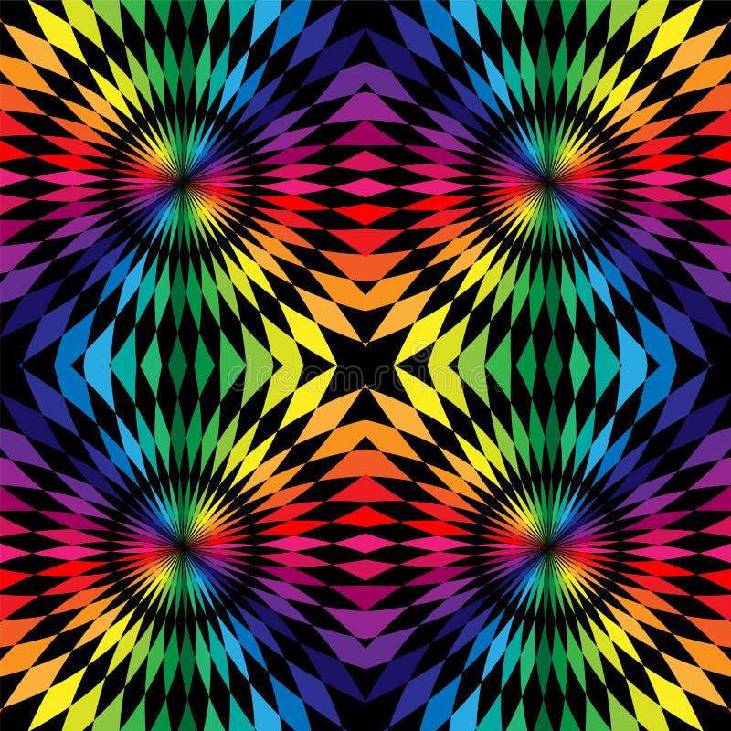 Modelo poligonal inconsútil Arco iris y rayas negras redondeados en fondo abstracto geométrico Conveniente para la materia textil ilustración del vector