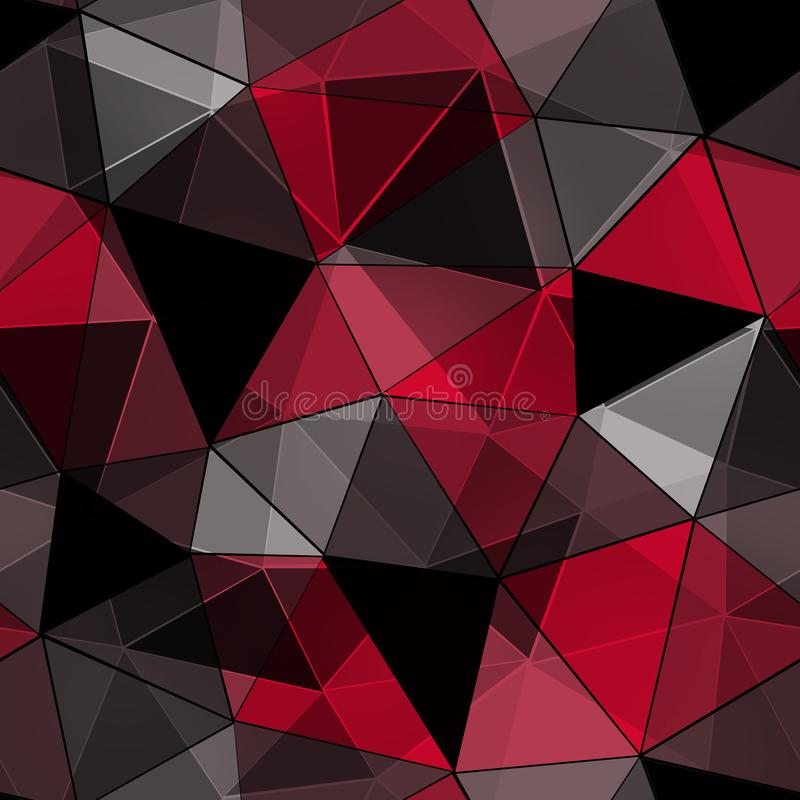 Modelo poligonal inconsútil, negro, fondo rojo stock de ilustración