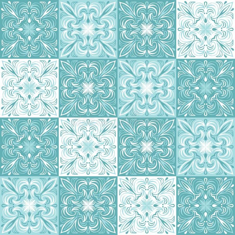 Modelo portugués de la baldosa cerámica del azulejo stock de ilustración