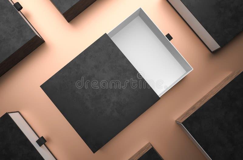 Modelo preto aberto elegante da caixa de presente no fundo preto Caixa de empacotamento luxuosa para a apresenta??o superior dos  ilustração do vetor