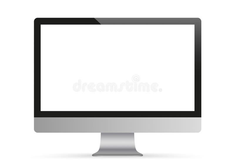 Modelo preto do monitor do PC ilustração do vetor