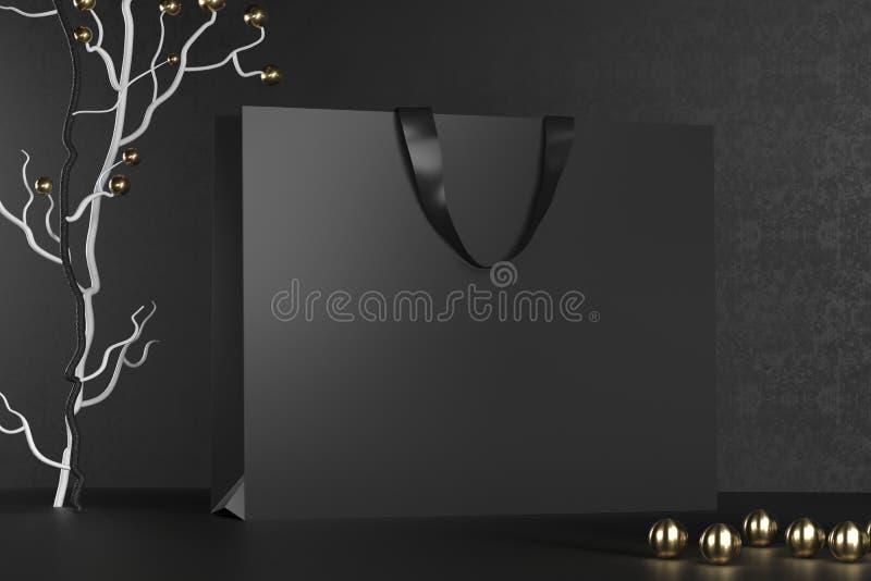 Modelo preto superior dos sacos de compras, pacote para compras em um fundo preto Saco de compras de papel preto com dourado ilustração royalty free