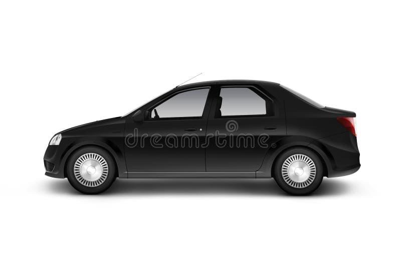 Modelo preto vazio do projeto do carro, vista isolada, lateral, trajeto de grampeamento, ilustração stock
