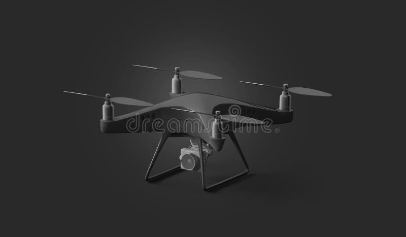 Modelo preto vazio do quadcopter, suporte isolado no fundo escuro ilustração do vetor