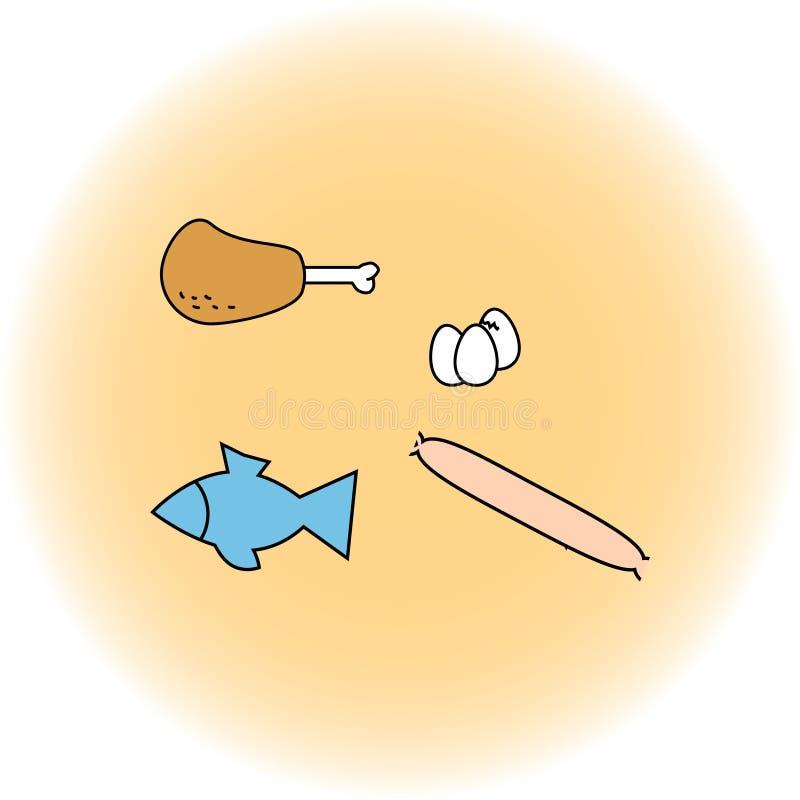 Modelo primitivo con un sistema de productos simples Ilustración del vector Iconos del contorno libre illustration