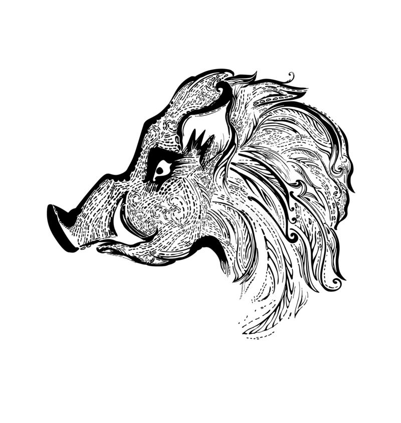 Modelo principal del verraco negro Cerdo del zodiaco ilustración del vector