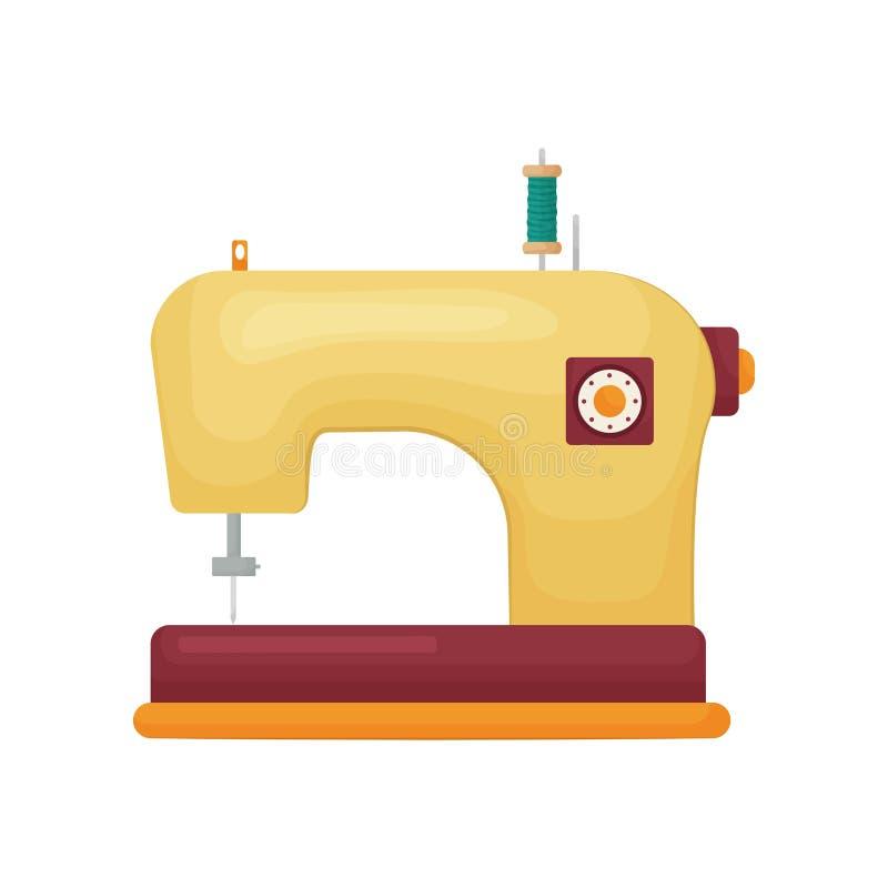 Modelo projetado retro da máquina de costura na cor amarela isolada no fundo branco ilustração royalty free