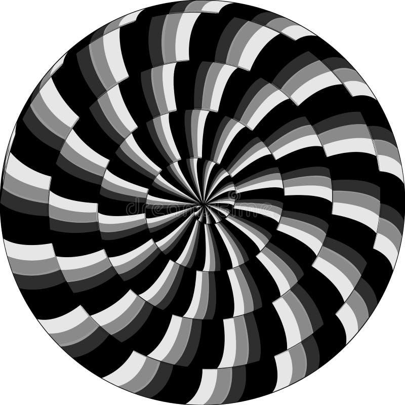 Modelo psicodélico, caracol, espiral blanco y negro, illu óptico stock de ilustración
