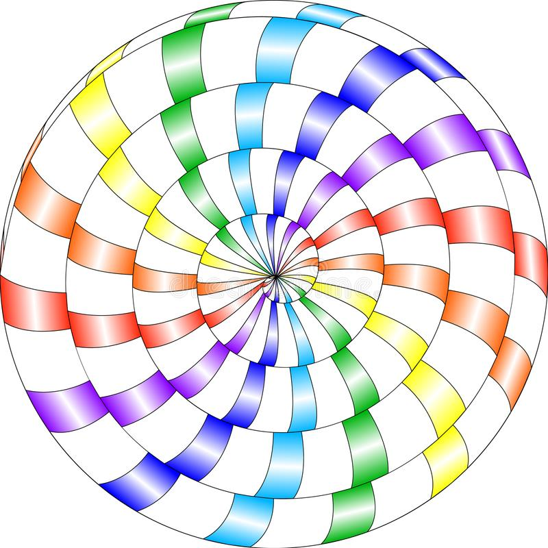 Modelo psicodélico, caracol, espiral multicolor, illusi óptico libre illustration