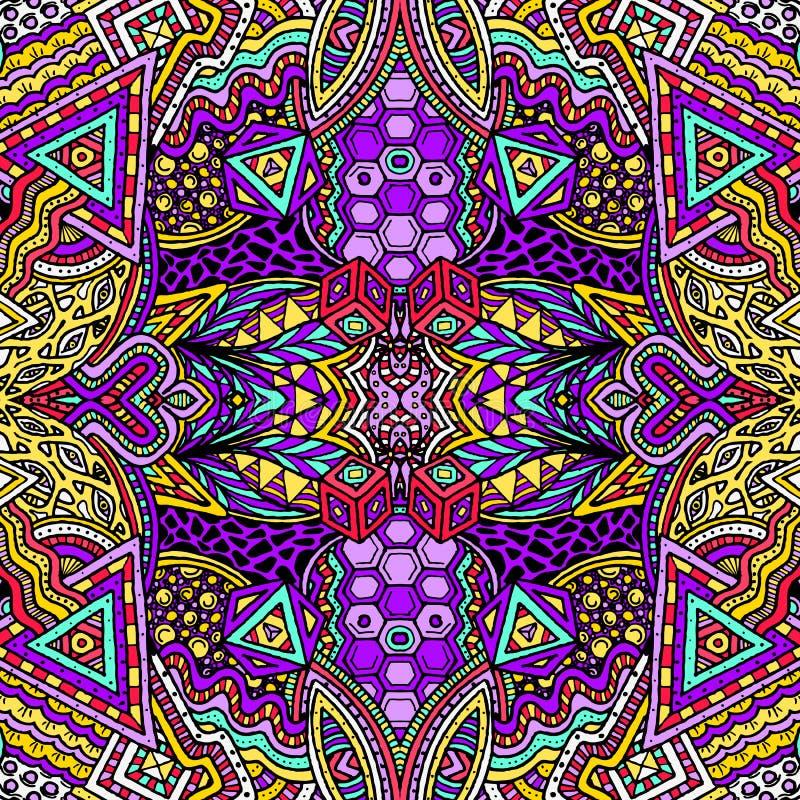 Modelo Psicodélico Dibujado Mano Coloreado Del Zentangle Ilustración ...