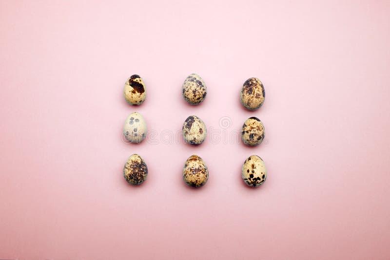 Modelo puesto plano de los huevos de Pascua en fondo en colores pastel Concepto mínimo imagen de archivo