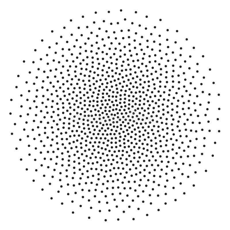 Modelo punteado de semitono del vector del fondo Puntos caóticos del círculo aislados en el fondo blanco Asimétrico inconsútil libre illustration