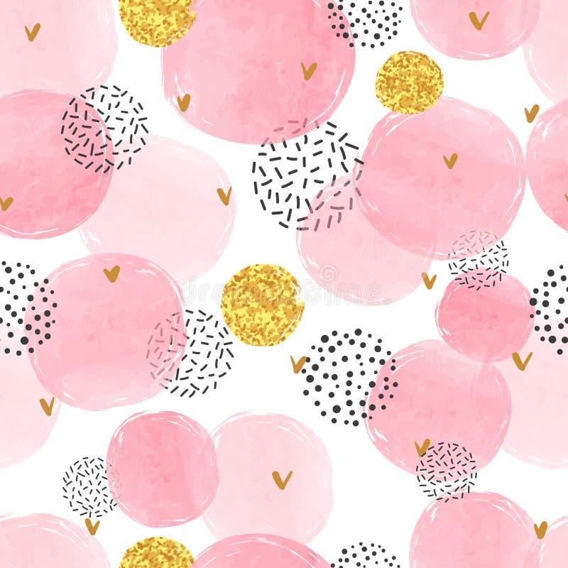 Modelo punteado inconsútil con los círculos rosados y de oro libre illustration
