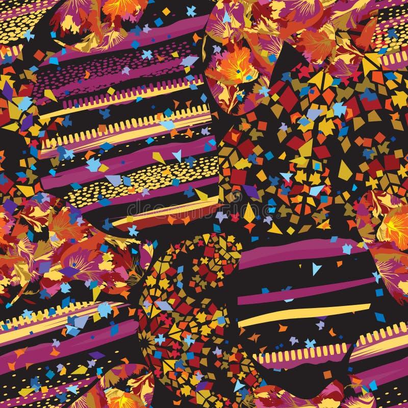 Modelo punteado inconsútil de la hoja abstracta del mosaico Contexto de cerámica texturizado teja decorativa caótica de las manch fotografía de archivo libre de regalías