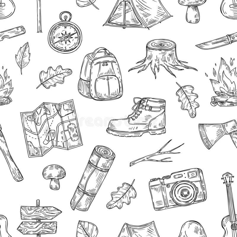 Modelo que acampa Caminando, campo de la familia en madera natural Textura inconsútil de la aventura del explorador del bosquejo  stock de ilustración
