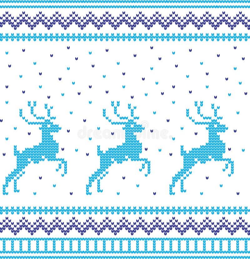 Modelo que hace punto de las vacaciones de invierno con árboles de navidad Diseño del suéter de la Navidad que hace punto Textura ilustración del vector