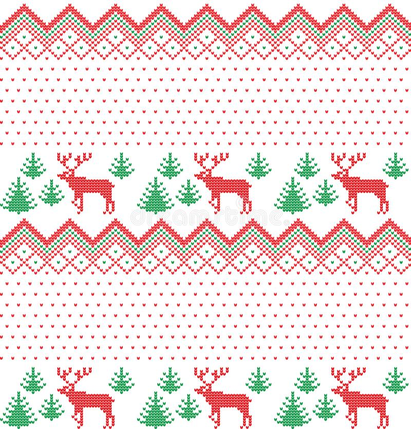 Modelo que hace punto de las vacaciones de invierno con árboles de navidad Diseño del suéter de la Navidad que hace punto Textura libre illustration