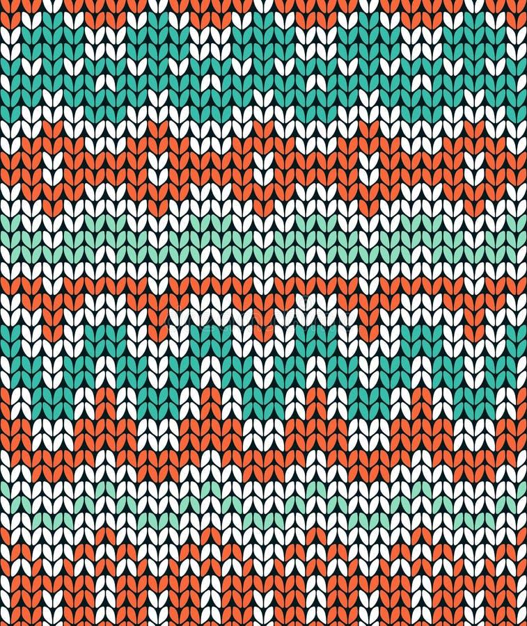 Modelo que hace punto verde y anaranjado Fondo inconsútil del ornamento del invierno ilustración del vector