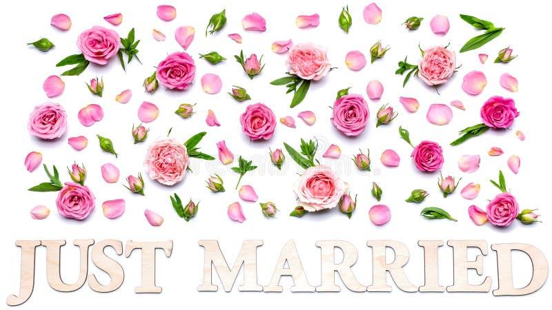 Modelo que se casa floral en un fondo blanco Pétalos, flores y brotes de rosas Tarjeta de felicitación o invitación en blanco de  imágenes de archivo libres de regalías