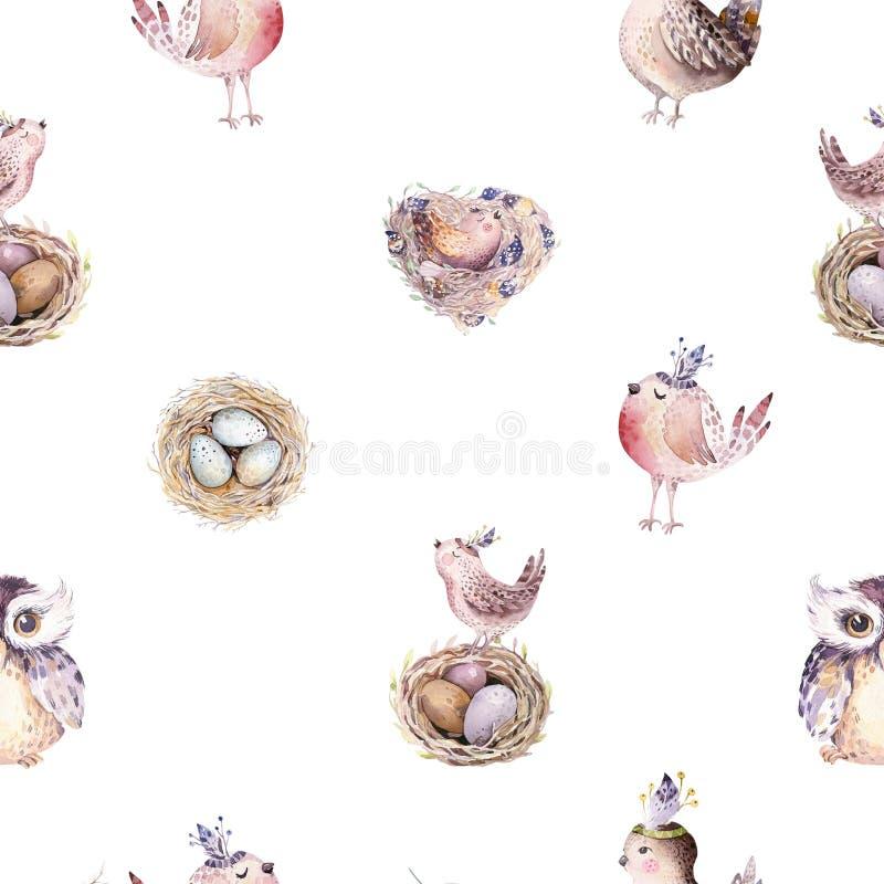 Modelo rústico de la primavera de la acuarela con la jerarquía, los pájaros, la rama, las ramitas del árbol y la pluma Pájaro dib ilustración del vector
