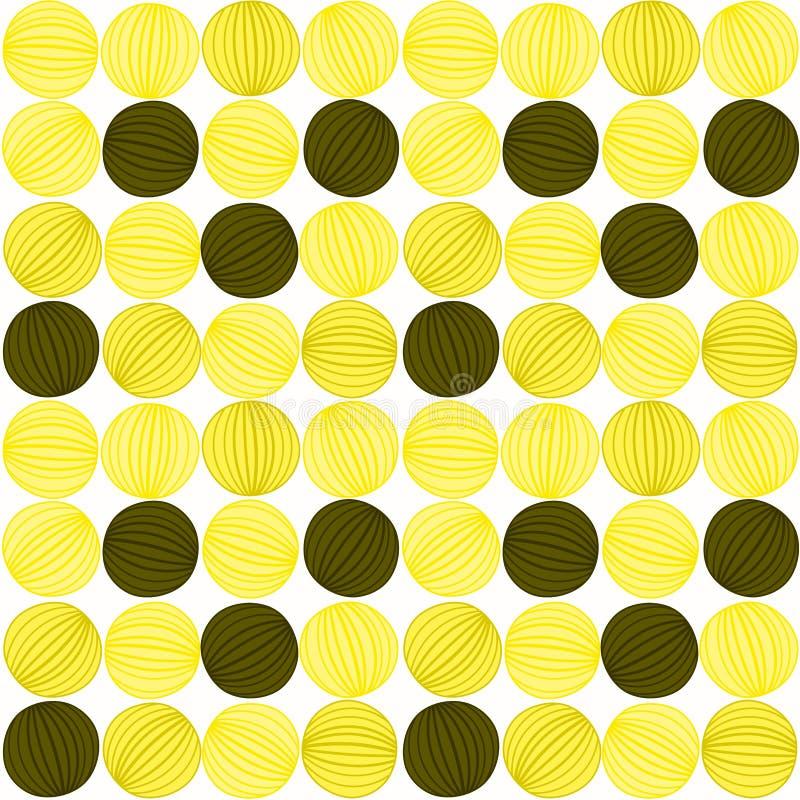 Modelo rayado de las bolas abstractas amarillas inconsútiles ilustración del vector