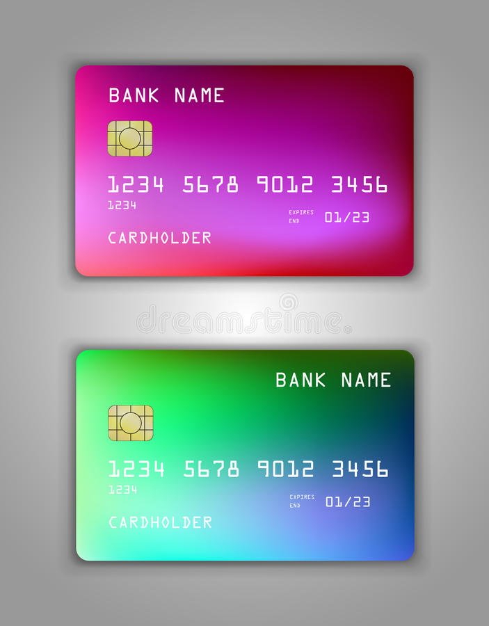 Modelo realístico ajustado do cartão de banco do crédito do vetor Multicolorido, arco-íris, transborda o rosa, lilás, azul, verde ilustração royalty free