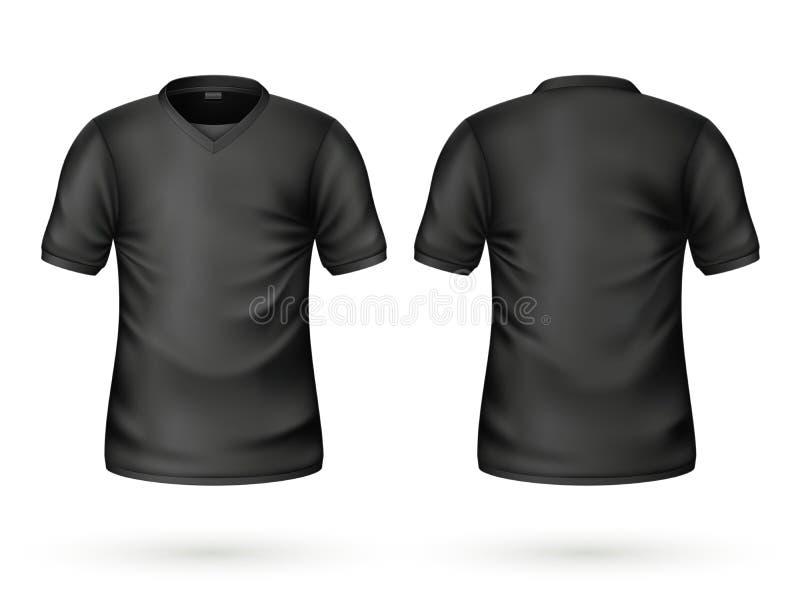 Modelo realístico da placa do preto do t-shirt do vetor ilustração do vetor