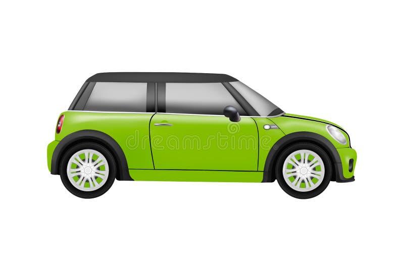 Modelo realístico de um mini carro dentro no fundo branco ilustração royalty free