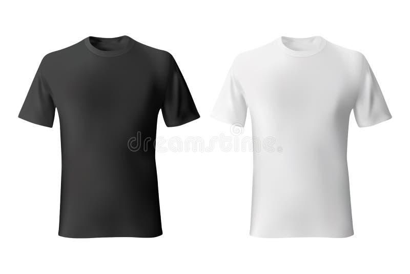 Modelo realístico do molde preto e branco do t-shirt dos homens ilustração do vetor