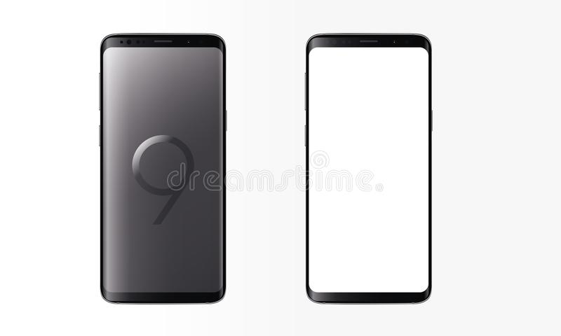 Modelo realístico dos dispositivos do tela táctil do telefone celular da galáxia S9+ Android ilustração stock
