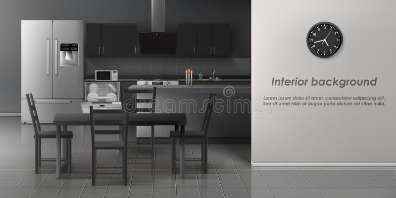 Modelo realístico interior do vetor da cozinha moderna ilustração royalty free