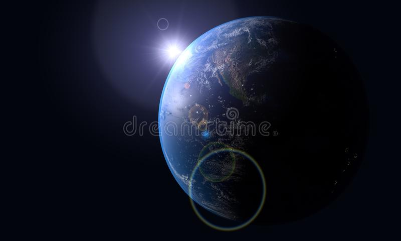 Modelo realista del fondo del mundo, representación 3d libre illustration