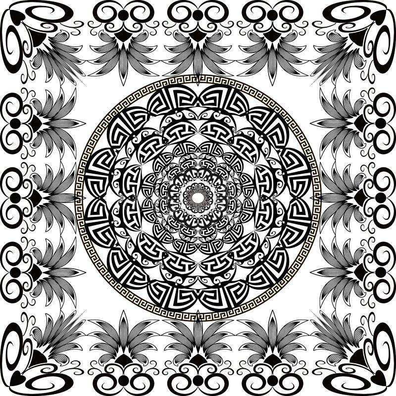 Modelo redondo blanco y negro de la mandala del vector griego Fondo moderno ornamental con el marco cuadrado floral Formas geomét ilustración del vector