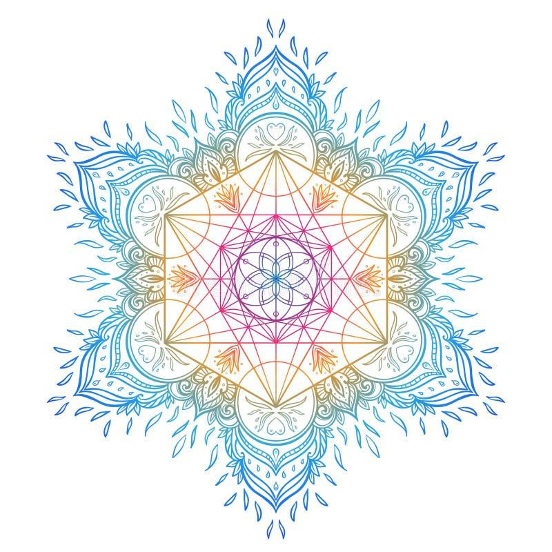 Modelo redondo de la mandala decorativa con el elemento sagrado de la geometría yo libre illustration