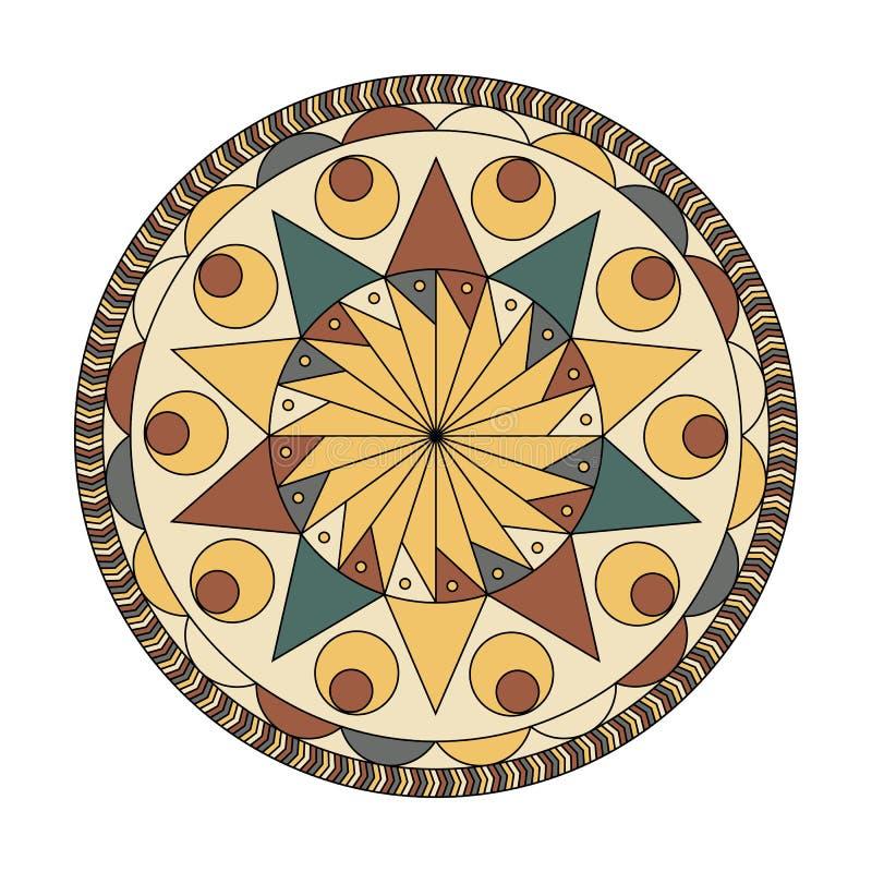 Modelo redondo de la mandala Ornamento floral del diseño del círculo abstracto del vector, ilustración del vector