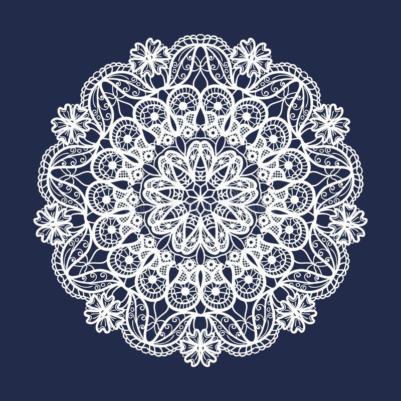 Modelo redondo del cordón del vector Mandala con las flores ornamentales Elemento decorativo para el diseño y la moda ilustración del vector