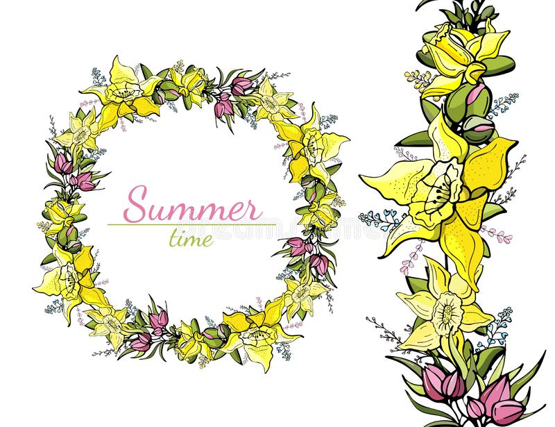 Modelo redondo e inconsútil de las flores de la primavera y de los narcisos amarillos ilustración del vector