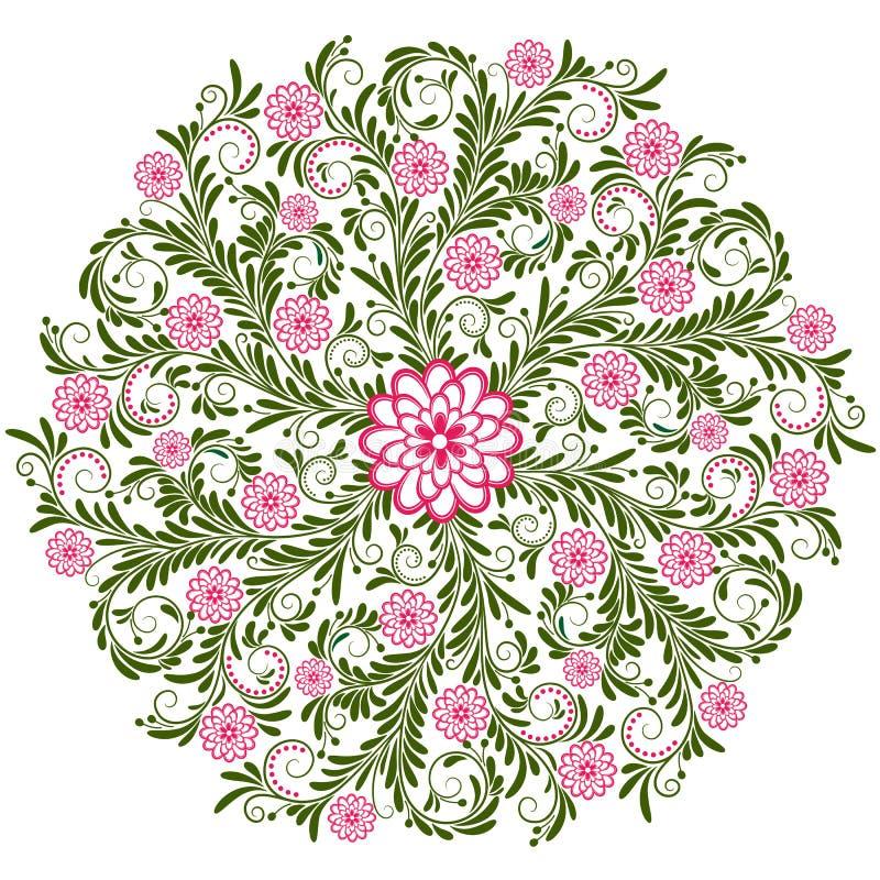 Modelo redondo floral de la vendimia ilustración del vector