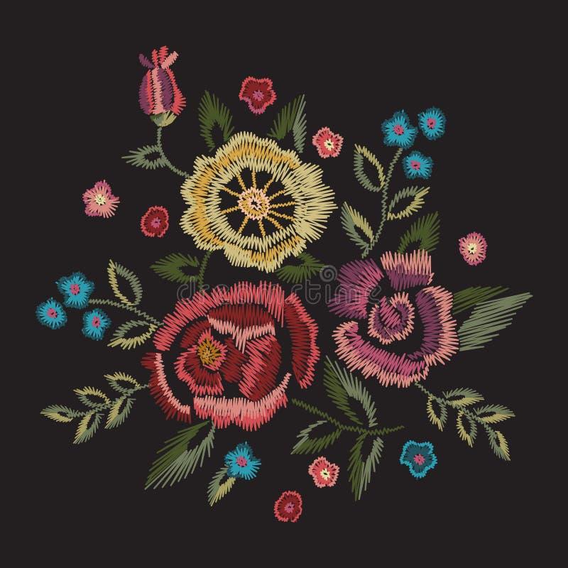 Modelo redondo floral nativo del bordado con las rosas simplificadas stock de ilustración